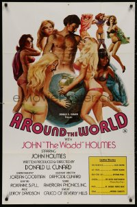 5d0063 AROUND THE WORLD WITH JOHN THE WADD HOLMES 1sh 1975 art of sexy women surrounding the globe!