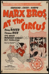 5d0067 AT THE CIRCUS 1sh R1962 Marx Brothers, Groucho, Chico & Harpo, Al Hirschfeld art!