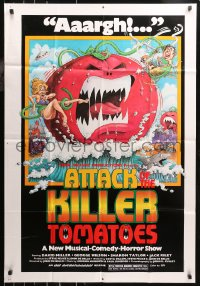 5d0068 ATTACK OF THE KILLER TOMATOES 1sh 1979 wacky monster artwork by David Weisman!