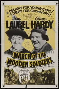5d0070 BABES IN TOYLAND 1sh R1970s Laurel & Hardy, March of the Wooden Soldiers!