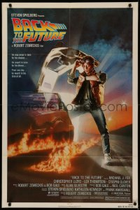 5d0073 BACK TO THE FUTURE NSS style 1sh 1985 art of Michael J. Fox & Delorean by Drew Struzan!