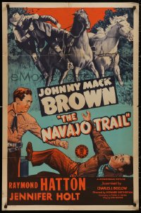 5d0808 NAVAJO TRAIL 1sh 1945 great images of Raymond Hatton & Johnny Mack Brown in western action!