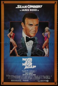 5d0813 NEVER SAY NEVER AGAIN 1sh 1983 art of Sean Connery as James Bond 007 by Obrero!