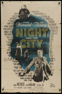 5d0818 NIGHT & THE CITY 1sh 1950 wrestling promoter Richard Widmark, sexy Gene Tierney, classic!