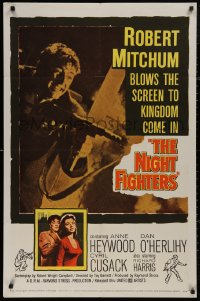 5d0819 NIGHT FIGHTERS 1sh 1960 Robert Mitchum runs wild with a red-hot machine gun in his hands!