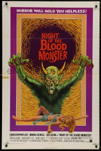 5d0822 NIGHT OF THE BLOOD MONSTER 1sh 1972 Jess Franco, art of wacky beast & half-dressed sexy girl!