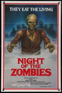 5d0823 NIGHT OF THE ZOMBIES 1sh 1984 the creeping dead devour the living flesh, cool Thompson art!