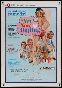 5d0827 NOT NOW DARLING 1sh R1976 Leslie Philips, super sexy Julie Ege, unrestrained comedy!