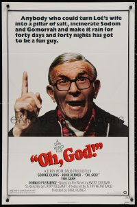 5d0840 OH GOD 1sh 1977 directed by Carl Reiner, great super close up of wacky George Burns!