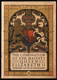 5f0046 CORONATION OF HER MAJESTY QUEEN ELIZABETH II English program 1953 cool cover art!
