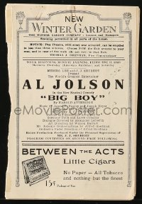 5f0034 BIG BOY stage program 1925 Al Jolson stars in the Kentucky Derby horse racing musical, rare!