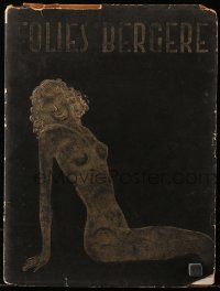 5f0016 FOLIES BERGERE stage play French souvenir program book 1950s foil cover & topless women inside!