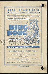 5f0006 CAPITOL Indian program December 16, 1933 including an ad for the first release of King Kong!