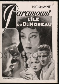 5f0001 ISLAND OF LOST SOULS French program 1933 Richard Arlen, Charles Laughton as Dr. Moreau!