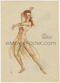 5g0122 ALBERTO VARGAS March/April calendar page 1940s sexy Esquire pin-up art on each side!