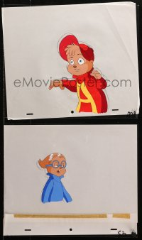 5g0155 ALVIN & THE CHIPMUNKS group of 3 animation cels & 3 preliminary sketches 1980s cartoon art!