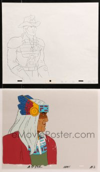5g0156 BRAVESTARR THE MOVIE group of 2 animation cels & 1 animation art 1987 western sci-fi cartoon!