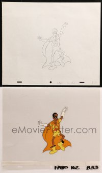 5g0140 FAT ALBERT animation cel on printed background & 1 animation art 1970s cartoon Bill Cosby!