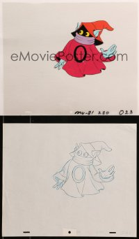 5g0154 MASTERS OF THE UNIVERSE group of 2 animation cels & 2 preliminary sketches 1980s Orko!