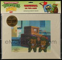 5g0148 TEENAGE MUTANT NINJA TURTLES matted animation cel 1991 actual scene from the cartoon show!