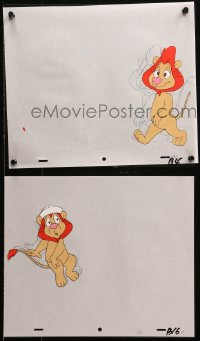 5g0160 OZ KIDS group of 6 animation cels & 6 preliminary sketches 1996 great art of cartoon lion!