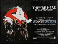 5h0052 GHOSTBUSTERS British quad 1984 Bill Murray, Aykroyd & Harold Ramis here to save the world!