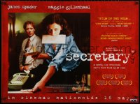 5h0057 SECRETARY advance British quad 2002 cool image of James Spader & Maggie Gyllenhaal!
