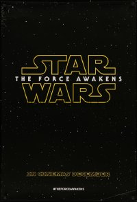 5h0048 FORCE AWAKENS teaser DS English 1sh 2015 Star Wars: Episode VII, title over starry background!