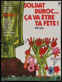 5h0065 DANGEROUS MISSION French 23x30 1975 different Trambouze art of child with giant soldier!