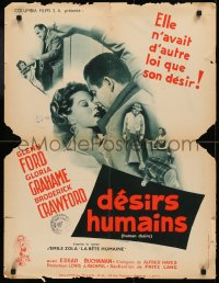 5h0071 HUMAN DESIRE French 24x31 1955 Gloria Grahame born to be bad, kissed & make trouble, Lang!