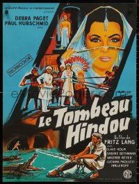 5h0072 INDIAN TOMB French 23x31 1959 Fritz Lang, art of sexy Debra Paget & Hubschmid, rare!