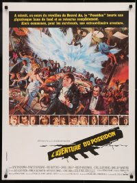 5h0073 POSEIDON ADVENTURE French 24x32 1973 art of Hackman & Stevens escaping by Mort Kunstler!