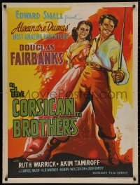 5h0022 CORSICAN BROTHERS Indian R1960s different art of Douglas Fairbanks Jr. & Warrick by Pinto!