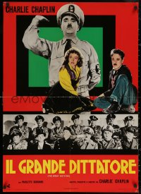 5h0045 GREAT DICTATOR Italian 26x36 pbusta R1970s Charlie Chaplin as Hynkel, different!