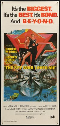 5j0011 SPY WHO LOVED ME Aust daybill R1980s great art of Roger Moore as James Bond 007 by Bob Peak!