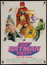 5j0001 FIGHT BATMAN FIGHT Filipino poster 1973 different art of Victor Wood in the title role!