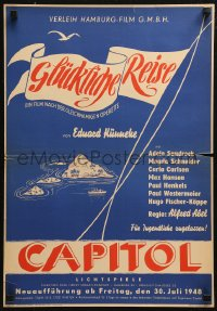 5j0029 BON VOYAGE German 16x23 R1948 Alfred Abel's Glucklicke Reise, island ship and flags!
