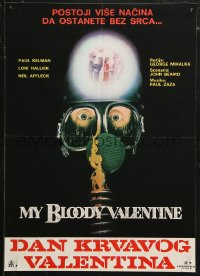 5j1135 MY BLOODY VALENTINE Yugoslavian 19x27 1981 cool gas mask, more than 1 way to lose your heart!