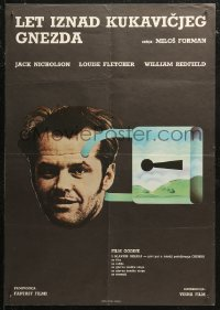 5j1148 ONE FLEW OVER THE CUCKOO'S NEST Yugoslavian 19x27 1975 art of Nicholson's head locked up!