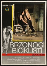 5j1159 QUICKSILVER Yugoslavian 20x28 1986 cool image of Kevin Bacon riding bicycle, sexy blonde!