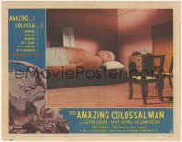 5k0888 AMAZING COLOSSAL MAN LC #2 1957 Glenn Langan is trying to get sleep in way-too-small bed!