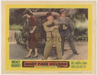 5k0903 BABY FACE NELSON LC #4 1957 great image of gangster Mickey Rooney with Tommy gun by car!