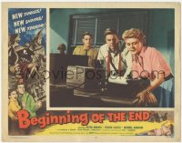 5k0907 BEGINNING OF THE END LC #4 1957 intense Peter Graves & Peggie Castle staring at machine!