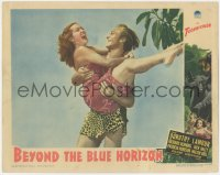 5k0911 BEYOND THE BLUE HORIZON LC 1942 Richard Denning in loincloth carrying sexy Dorothy Lamour!