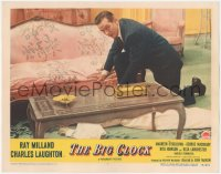 5k0912 BIG CLOCK LC #5 1948 Ray Milland finds a dead body laying on floor by couch, film noir!