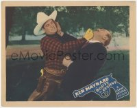 5k0920 BOOTS OF DESTINY LC 1937 great close up of Ken Maynard punching bad guy in the jaw!