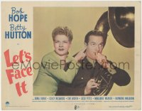 5k1205 LET'S FACE IT LC #1 1943 great comic close up of Betty Hutton with Bob Hope playing tuba!
