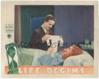 5k1207 LIFE BEGINS LC 1932 Eric Linden hands baby outfit to mother-to-be Loretta Young in hospital!