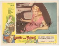 5k1217 LOST, LONELY & VICIOUS LC #4 1958 overhead portrait of sexy Sandra Giles in convertible car!