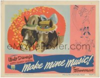 5k1229 MAKE MINE MUSIC LC 1946 Disney, wacky image of horses, one wearing hat with cartoon face!
